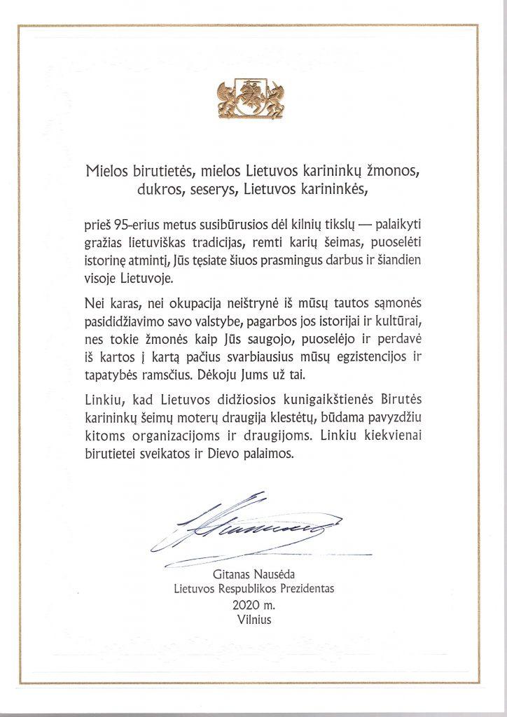 Lietuvos didžiosios kunigaikštienės Birutės karininkų šeimų moterų organizacija mini 95 - uosius įkūrimo metus